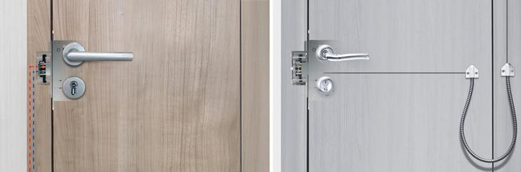 Не требуется прокладка кабеля внутри дверного полотна и гибкого переходника с косяка на полотно двери