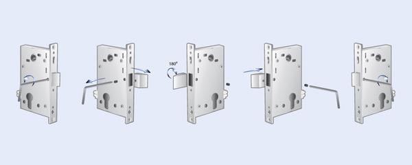 Переустановка ригеля при монтаже электромеханического замка
